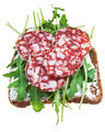 sandwich from brown bread, salami and green salad - PhotoDune Item for Sale