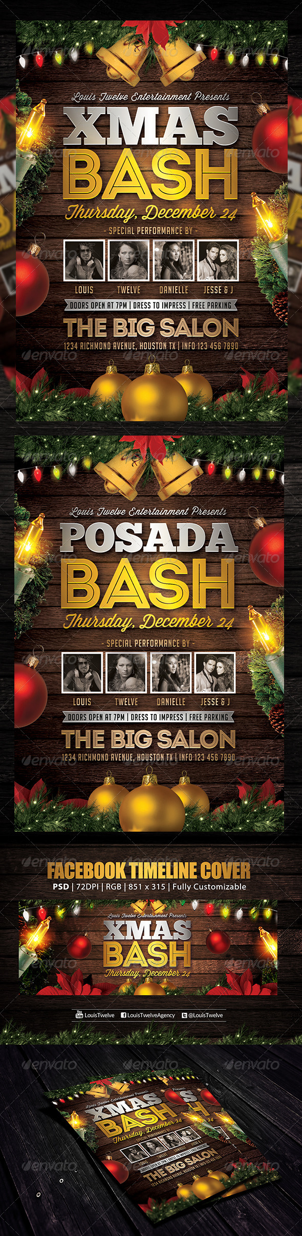 GraphicRiver Christmas Bash 4 Flyer & FB Cover 6244741