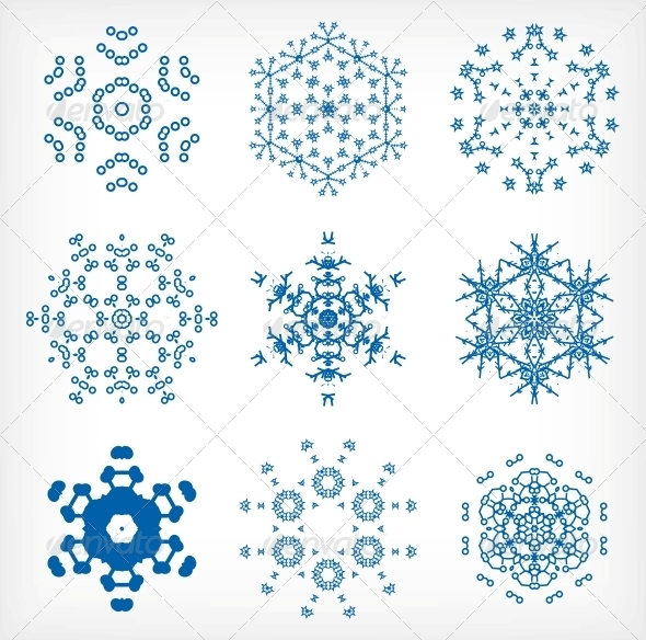 GraphicRiver Snowflakes for Christmas Decor Set 6245338