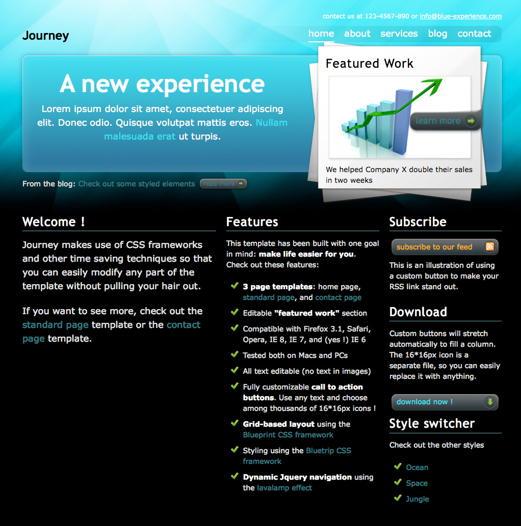 "Journey - The ""ocean"" home page, with a ""featured project"" zone and three columns of content."