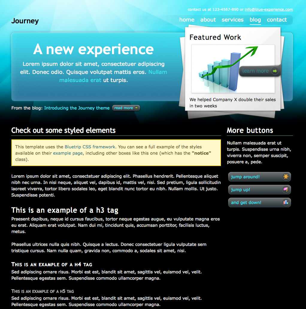 "Journey - The ""ocean"" content page, with element styles and custom buttons"