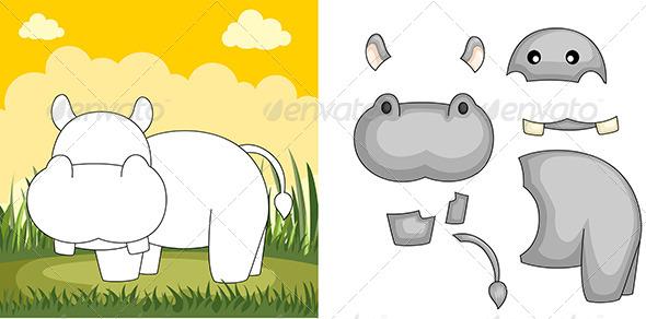 GraphicRiver Hippo Puzzle 6246929