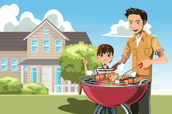 GraphicRiver Father and Son doing Barbecue 6246936
