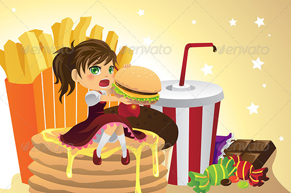 GraphicRiver Girl Eating Junk Food 6246956