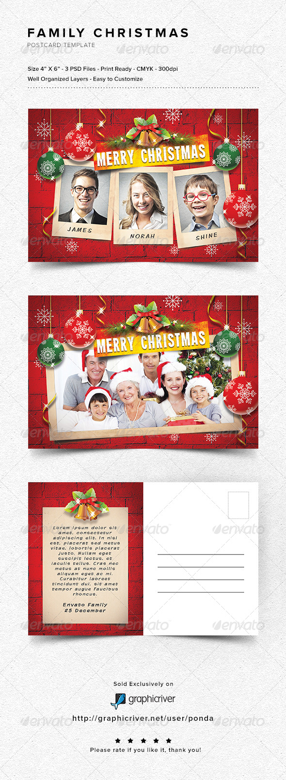 GraphicRiver Family Christmas Postcard Template 6247333