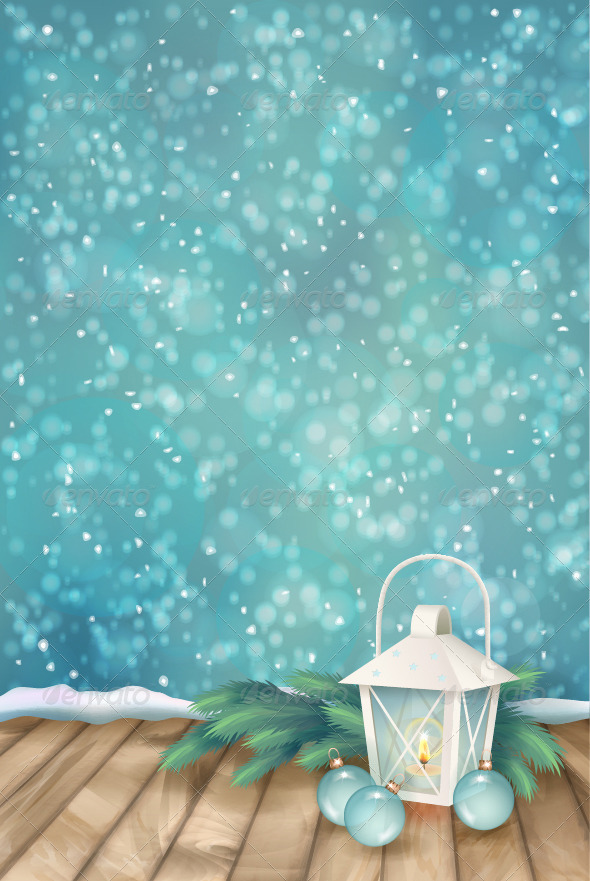 GraphicRiver Vector Winter Christmas Scene Background 6247769