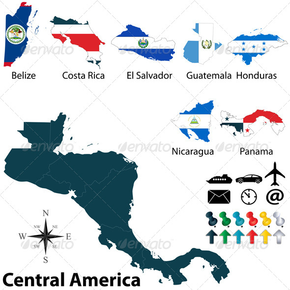 GraphicRiver Political Map of Central America 6247841