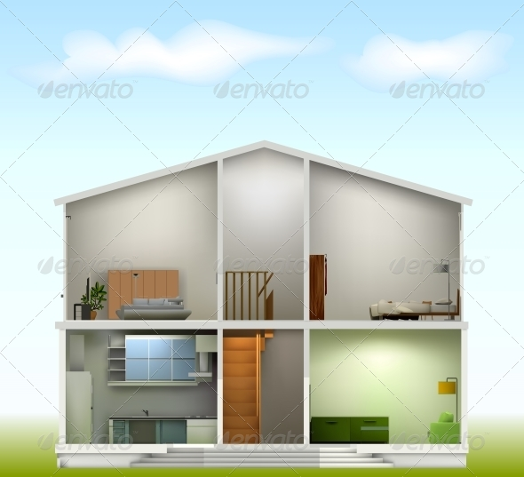 GraphicRiver House Cut with Interiors 6248229