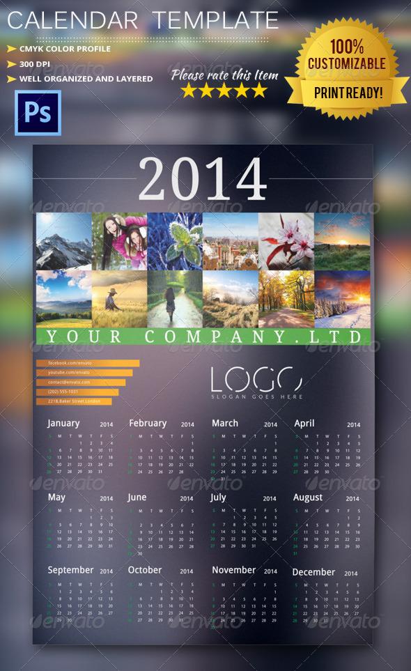 GraphicRiver 2014 Calendar Template 6248607