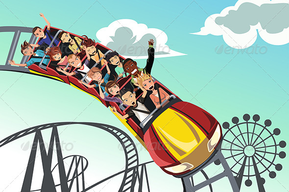 GraphicRiver People Riding Roller Coaster 6248638