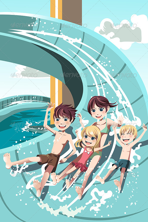 GraphicRiver Kids Playing in Water Slides 6248700
