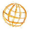 abstract globe from orange water splashes isolated on white - PhotoDune Item for Sale