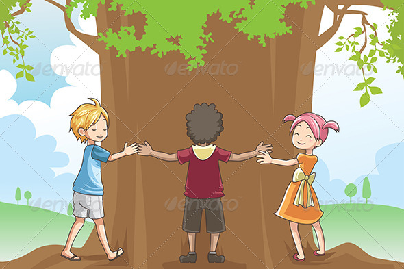 GraphicRiver Kids Hugging Tree 6248760