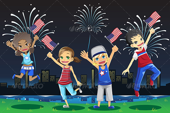 GraphicRiver Kids Celebrating Fourth of July 6248885