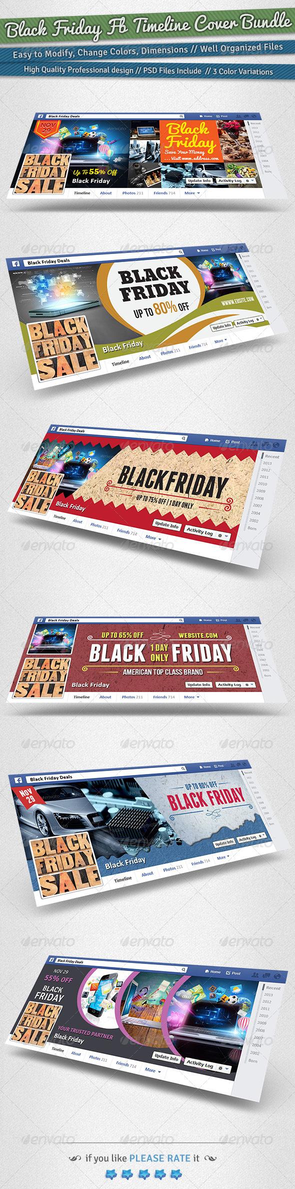 GraphicRiver Black Friday Promotion FB Timeline Cover Bundle 6249418