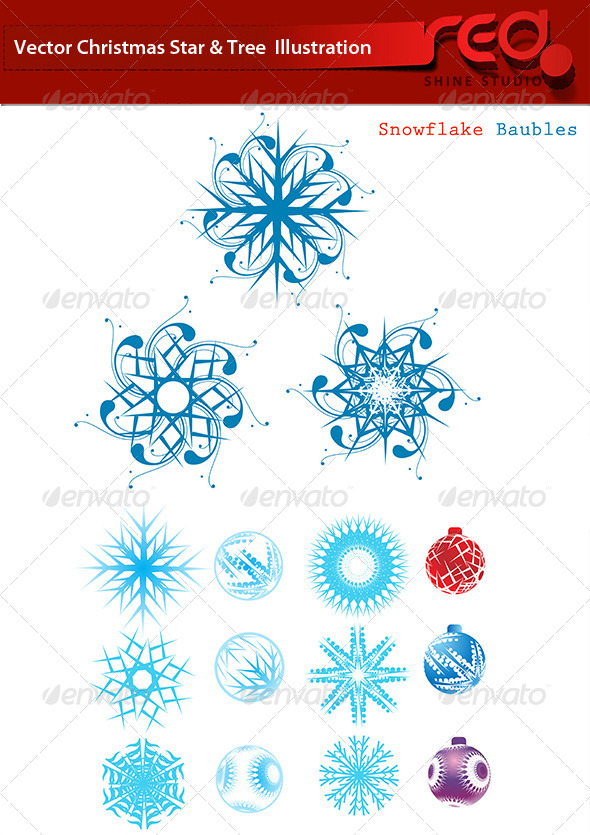 GraphicRiver Snowflakes for Christmas Decor Set 6250526