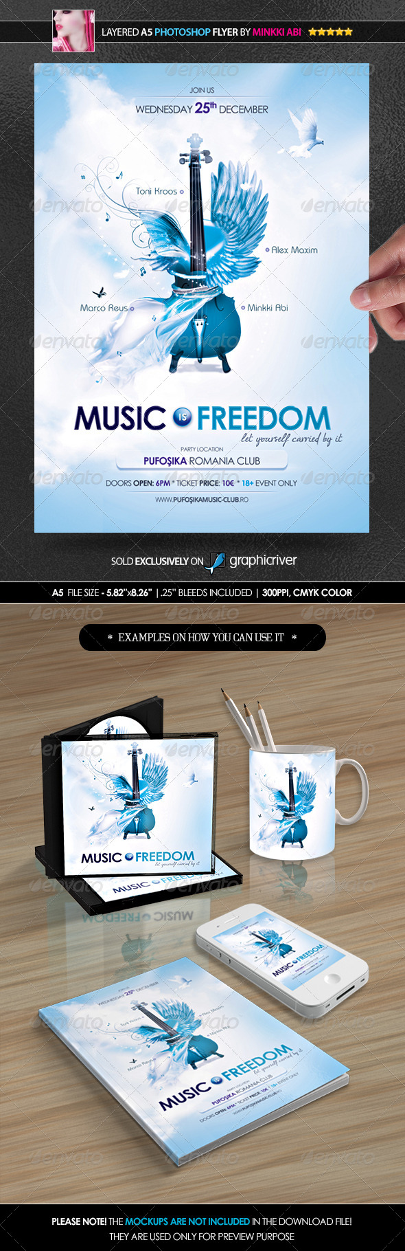 GraphicRiver Music Is Freedom Poster Flyer 6251495