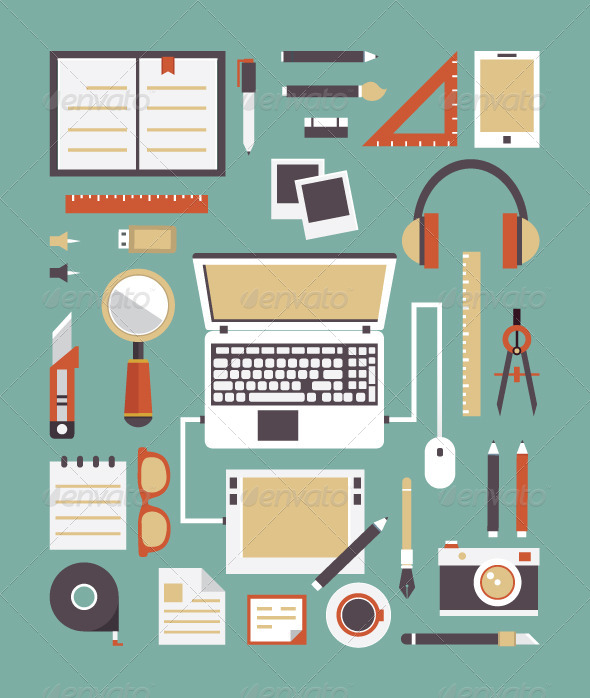 GraphicRiver Vector Set of Equipment for Design 6251674