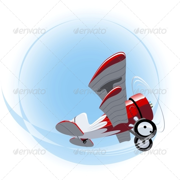 GraphicRiver Vector Cartoon Biplane 6252181