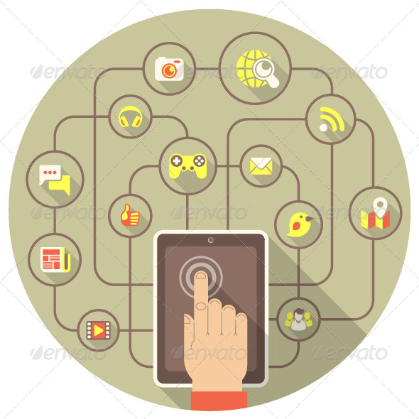 GraphicRiver Social Networking by Tablet in Gray Circle 6253412