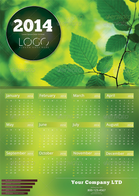 GraphicRiver Green Calendar Template 2014 6253836