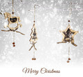 Christmas wooden ornaments hanging on snowy branch - PhotoDune Item for Sale