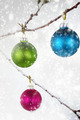 Christmas balls hanging on snowy branch - PhotoDune Item for Sale