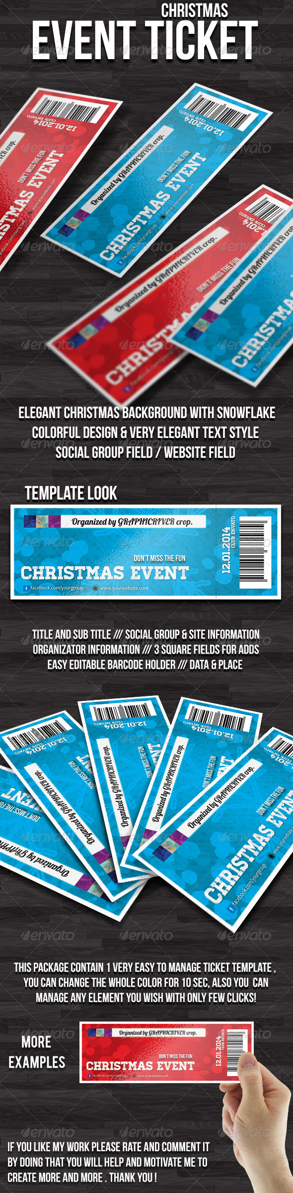 GraphicRiver Christmas event ticket 6255107