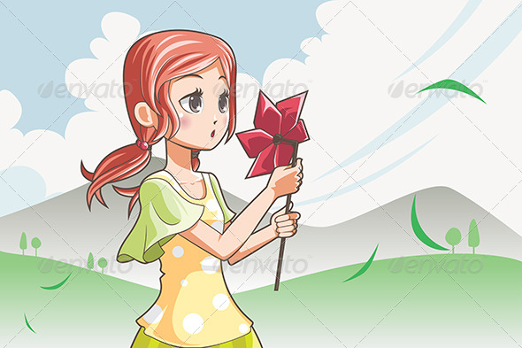 GraphicRiver Girl Blowing Pinwheel 6255148