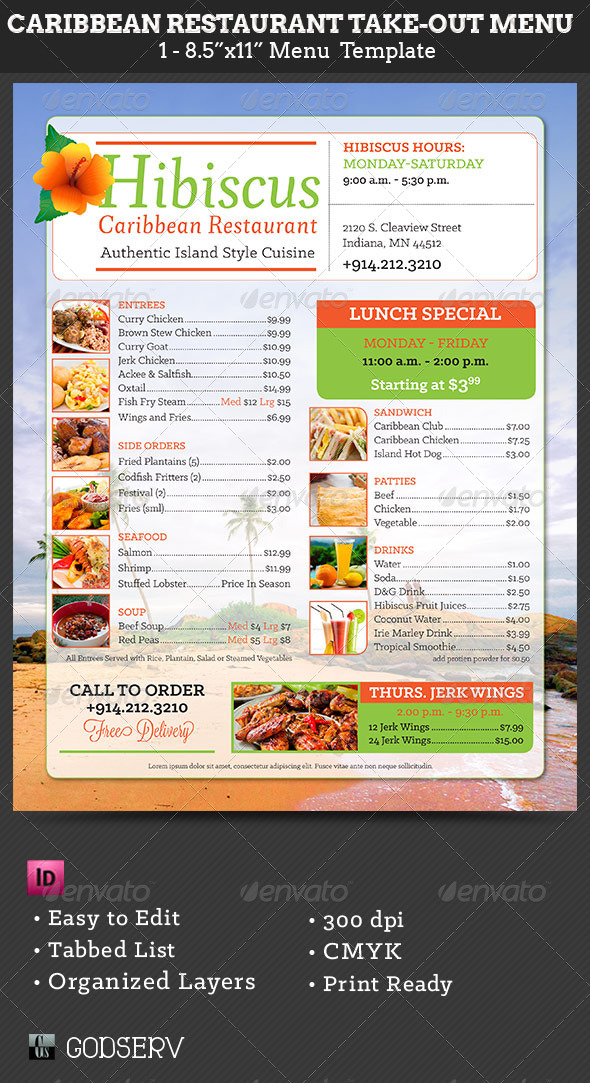 GraphicRiver Caribbean Restaurant Take-Out Menu Template 6255362