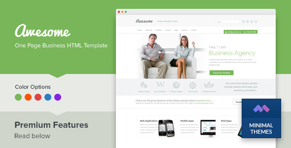 Awesome - One Page Business Template