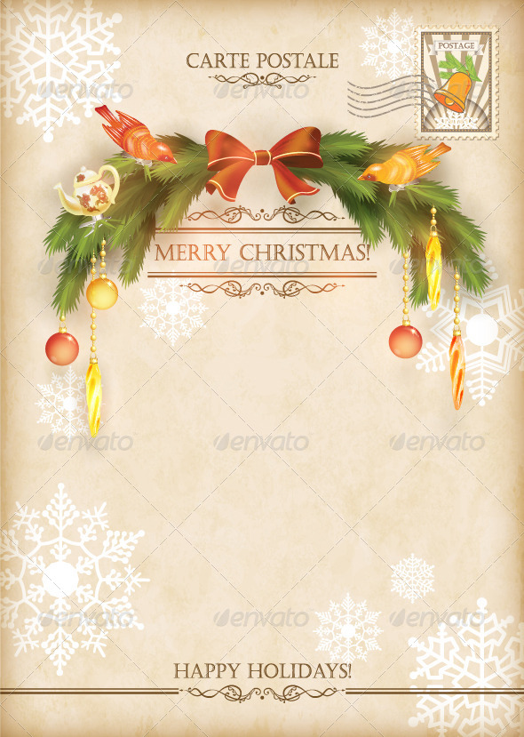 GraphicRiver Christmas Vintage Holiday Vector Postcard 6256109