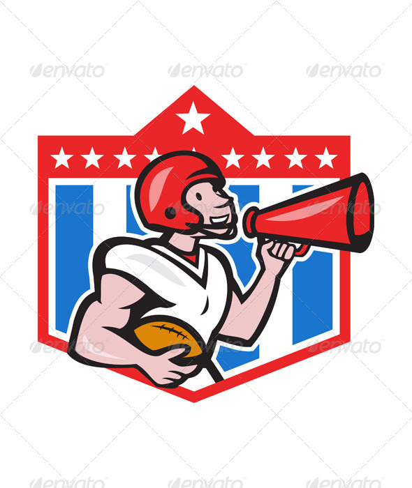 GraphicRiver American Football Quarterback Bullhorn Cartoon 6257173