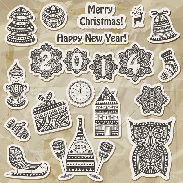 GraphicRiver Vector Christmas Stickers Design Elements 6257628