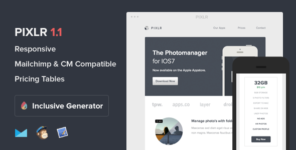 Pixlr - Responsive Email With Template Builder - Email Templates Marketing
