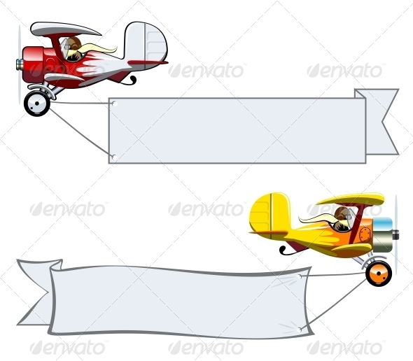 GraphicRiver Cartoon Biplane 6261126