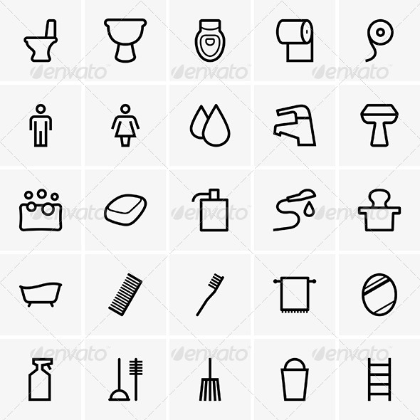 GraphicRiver Bathroom Icons 6261910