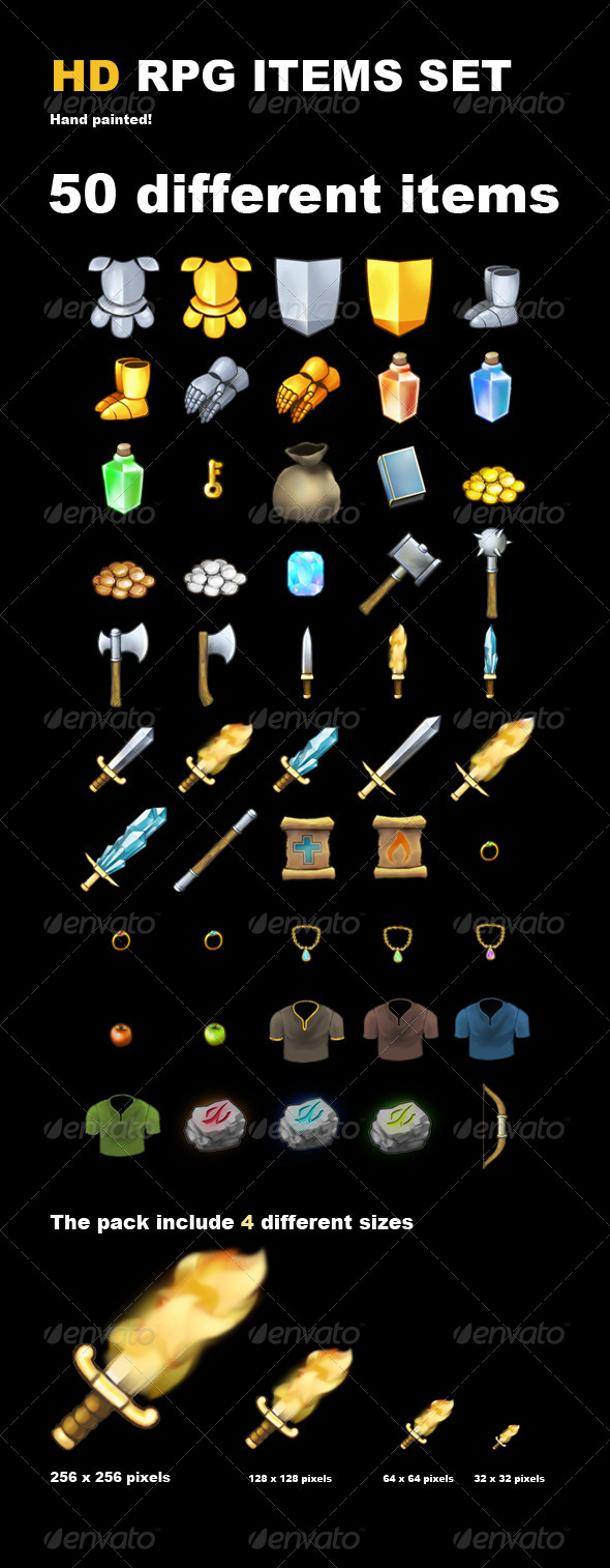 GraphicRiver 50 HD RPG Items 6230206