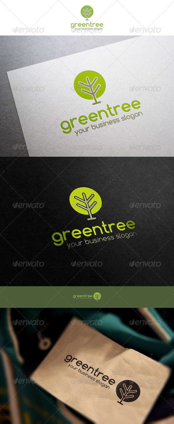 Green Tree Simple Eco Logo - Nature Logo Templates