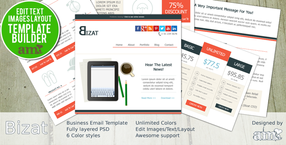 ThemeForest Bizat Corporate Business HTML Email With Builder 6265322