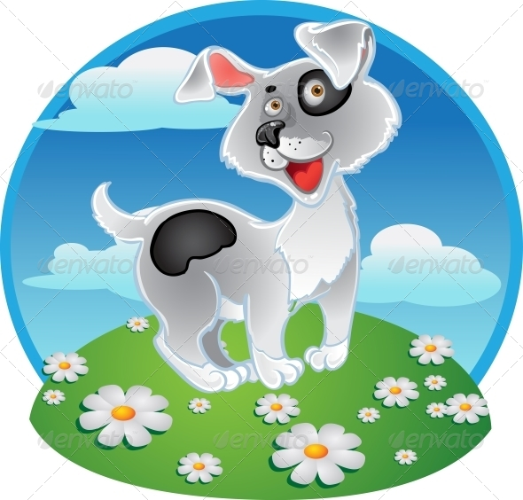 GraphicRiver Fun White Dog on a Color Background 6265602