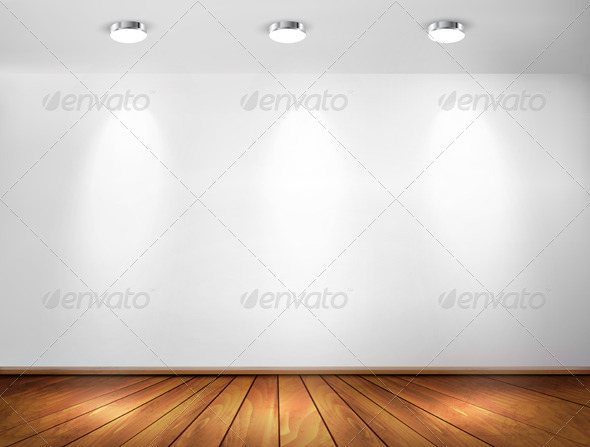 GraphicRiver Wall with Spotlights and Wooden Floor 6266251