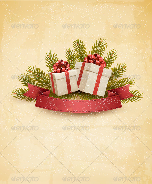 GraphicRiver Holiday Background with Ribbon and Red Gift Boxes 6266284