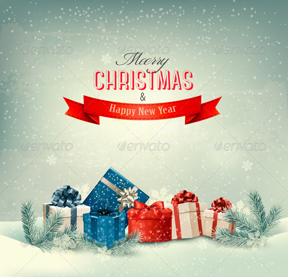 GraphicRiver Christmas Winter Background with Presents 6266391