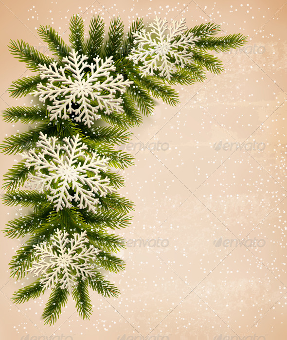 GraphicRiver Christmas Retro Background with Tree Branches 6266398