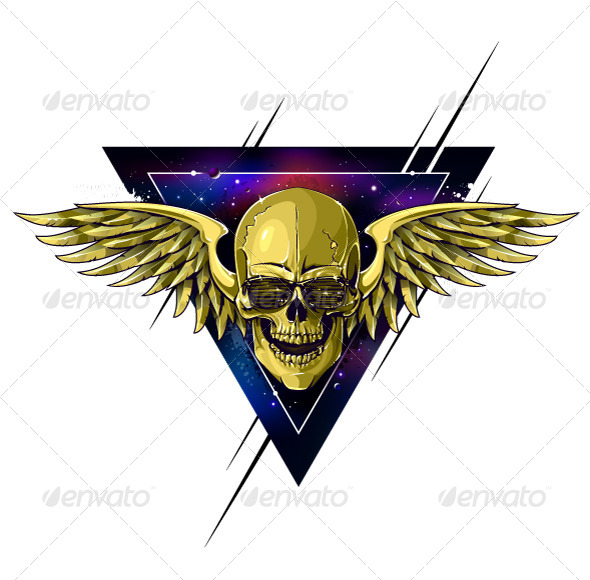 GraphicRiver Hipster Skull with Wings 6266716