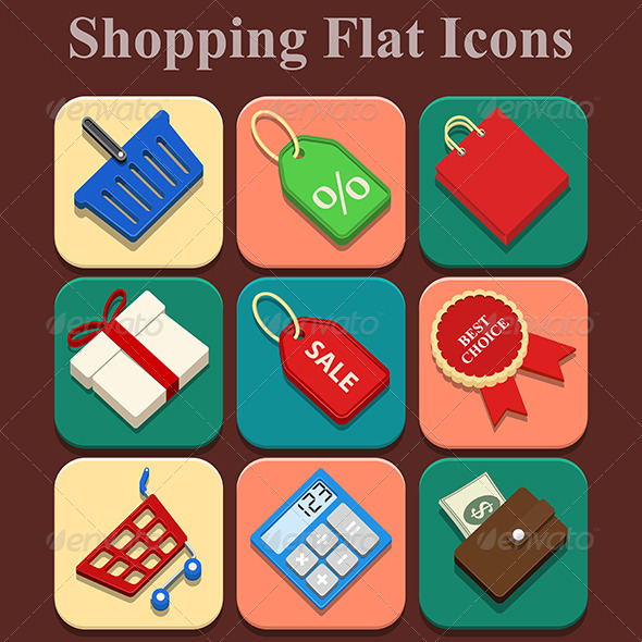 GraphicRiver Shopping Flat Color Icons Set 6267584