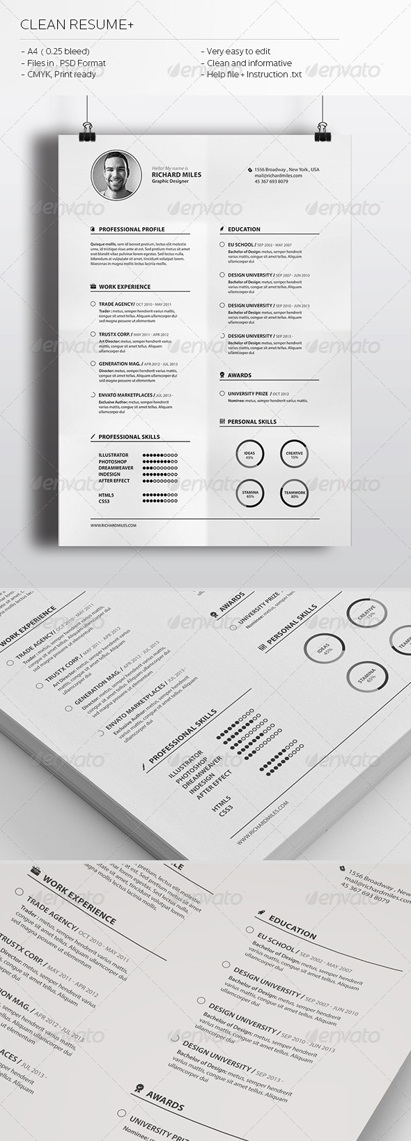 GraphicRiver Clean Resume& 6252584
