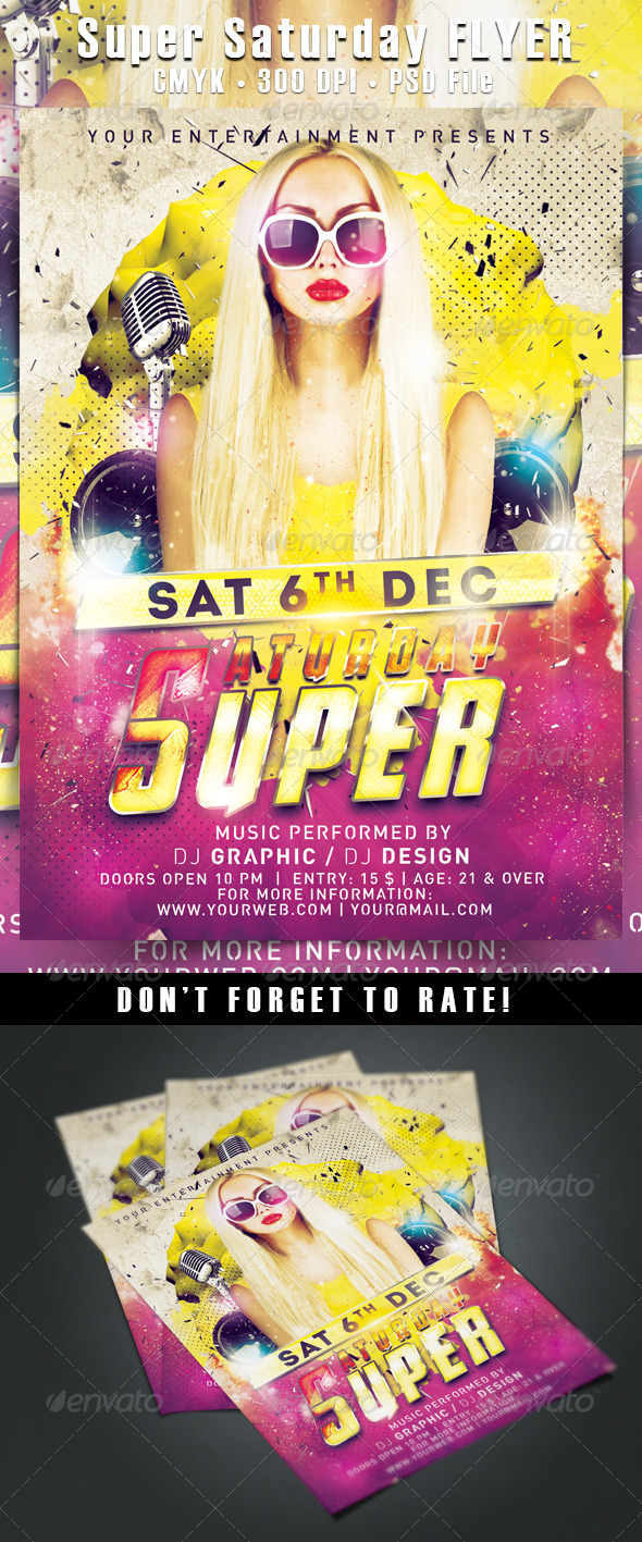 Super Saturday Flyer - Clubs & Parties Events