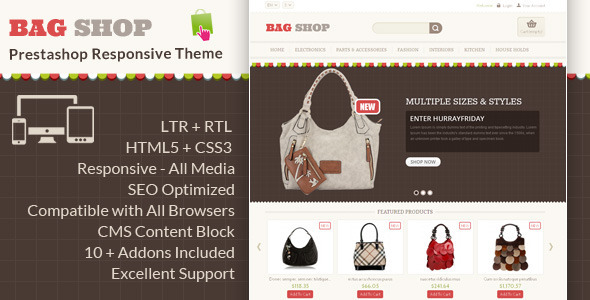 ThemeForest Bag Shop Prestashop Responsive Theme 6269144